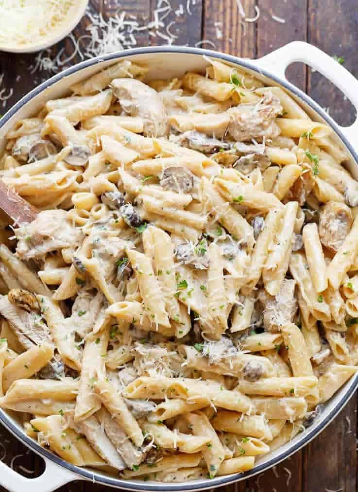 recetas de fideos con crema de leche y pollo