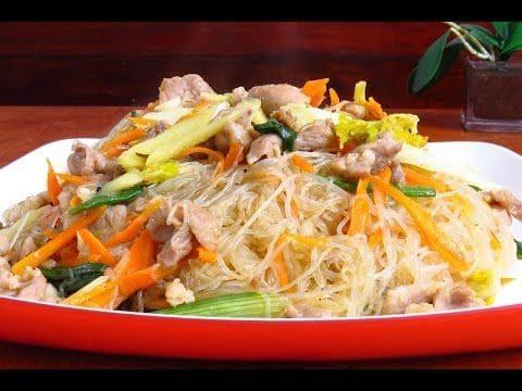 recetas de fideos chinos transparente con pollo