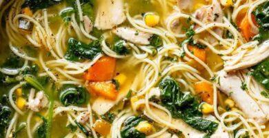 sopa de fideos caldoso con pollo