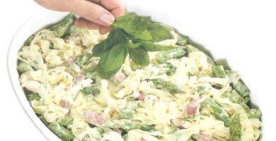 recetas de Fideos tagliolini cremoso de jamos y espárragos