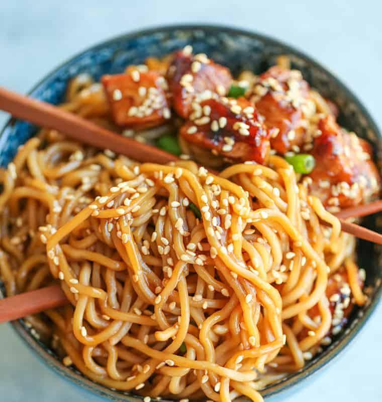 Fideos chinos salsa teriyaki