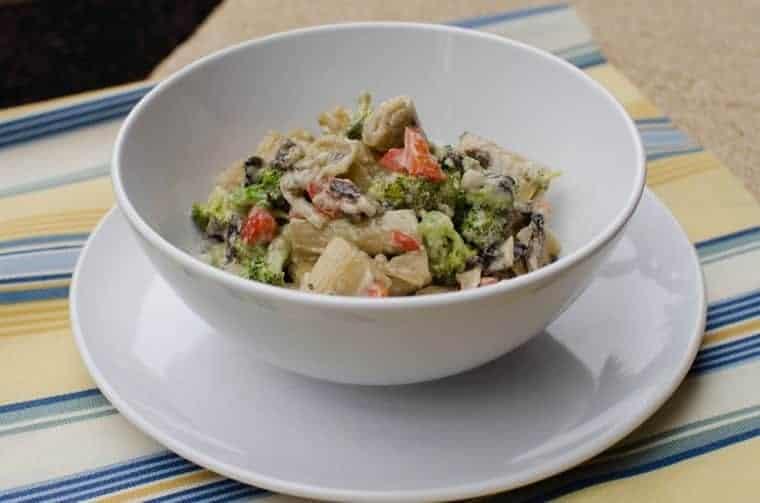 fideos con verduras y crema